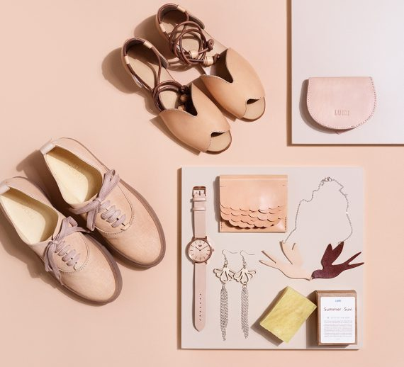 Flat lay collage of nude color accessories for summer.